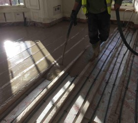 Fast Floor Screed - Retro fit in large house in Dalkey Co Dublin. Poured with LiteFlo Lightweight Flowing Screed, ideal for renovation projects where loading is an issue