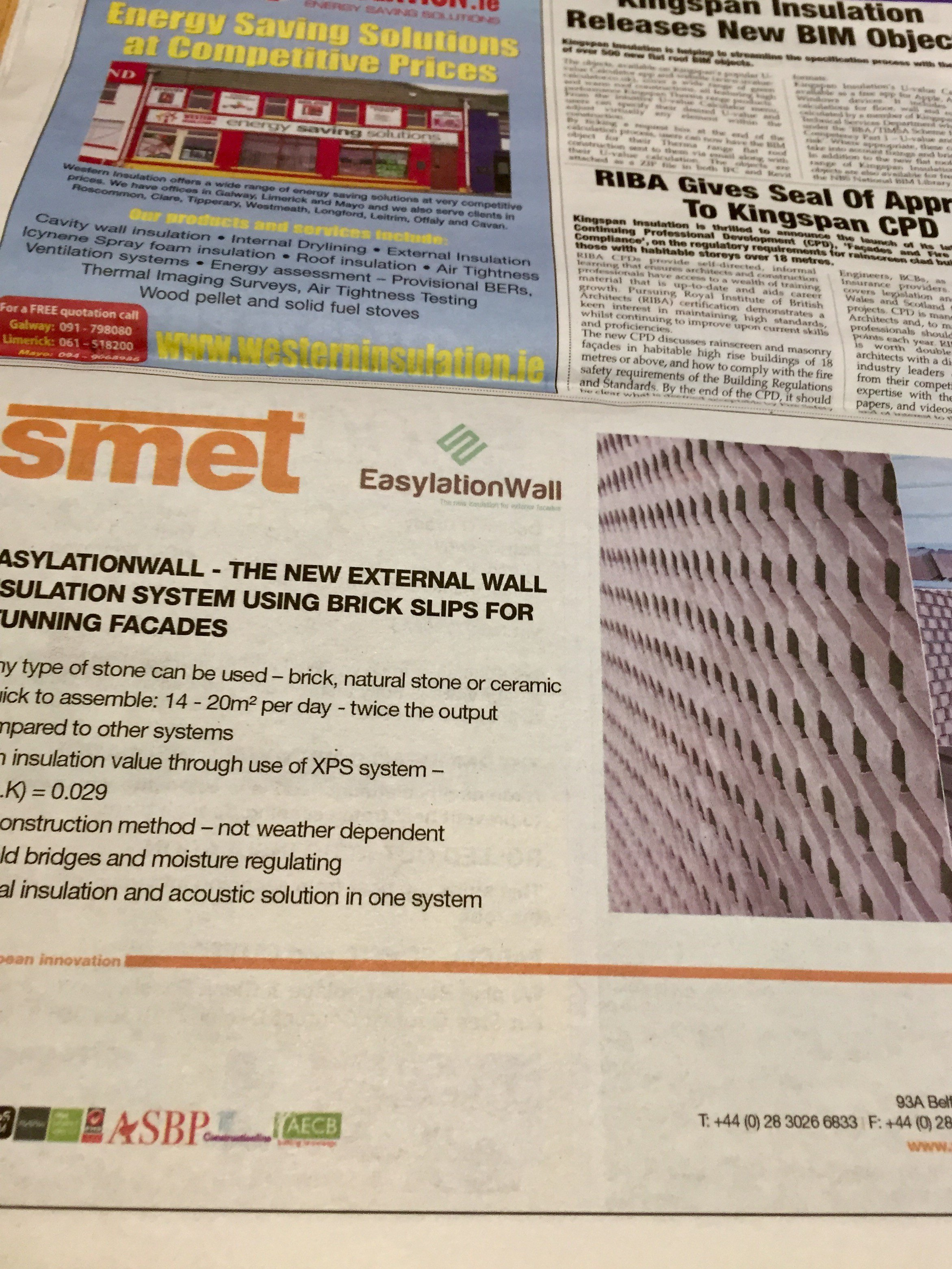 Smet Building Products Ltd feature EasylationWall in latest