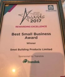 SMET wins Best Small Business Award 2017_presented by Translink_